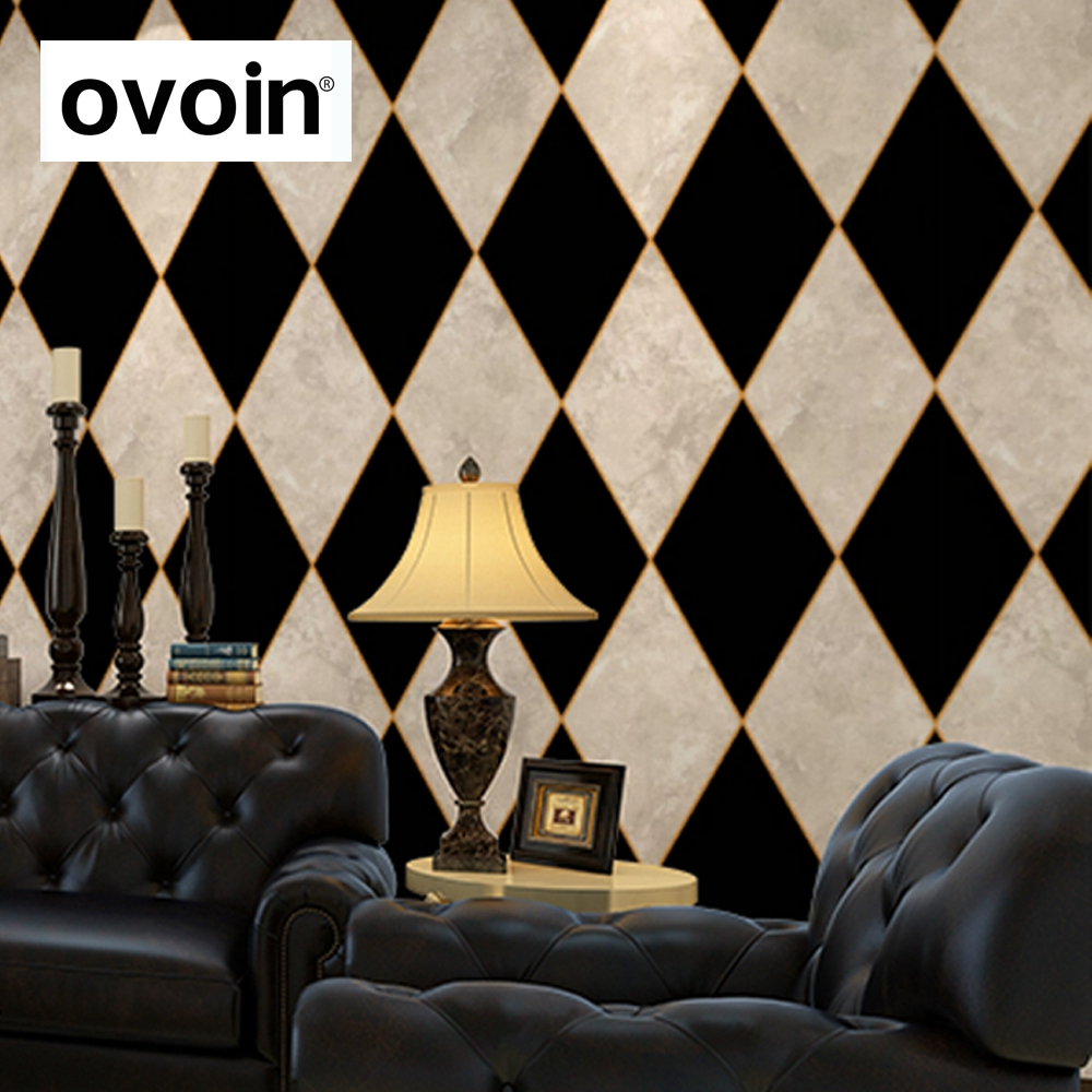 Old Black and White Diamond Chequered or Checkered Wallpaper Vinyl Marble Rhombus Wall Paper Covering For - Behang Ruit