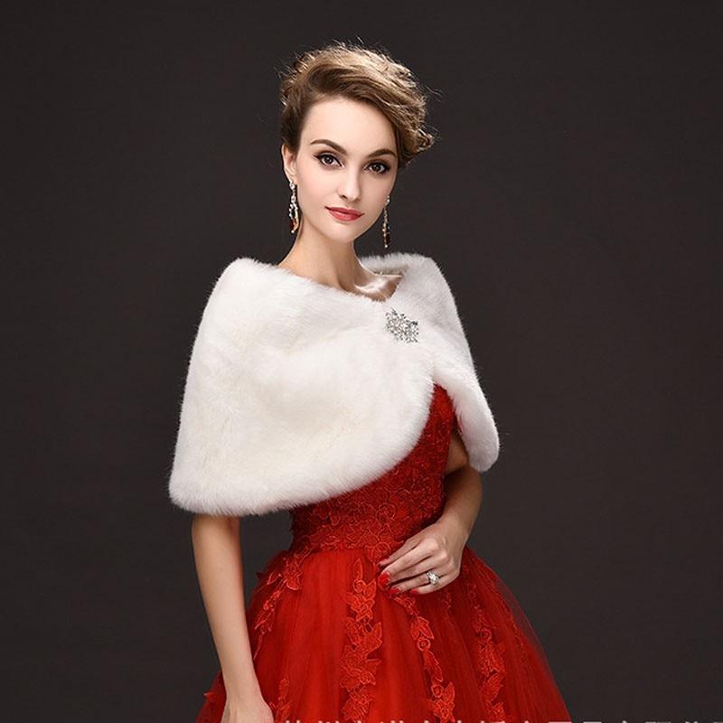2016 Hot Sale Fashion Elegant Warm Faux Fur White Bolero Wedding Wrap Shawl Bridal Jacket Coat Accessories