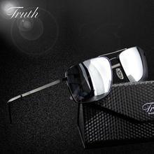 TRUTH mirror sunglasses men polarized for driver aviator glass flex hinge luxury sunglass brand in case lunettes de soleil homme