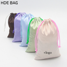 Satin Ribbon Drawstring Bags for Hair High-end Matte Satin Hair Packing Bag Custom Logo Shoes Storage Gift Bag(China)