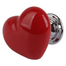 New 1pcs Heart Shape Furniture Cabinet Cupboard Drawer Ceramic Handle Pull Knob