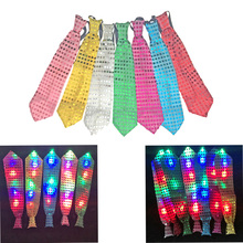10pcs/lot Female Male Sequins LED Neck tie glow Bow Tie Blinking Ties Birthday Party Supplies Wedding Favors dancing stage