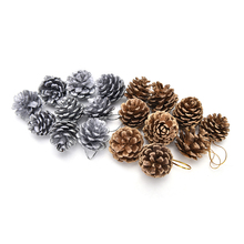 9Pcs Gold Silver Christmas Tree Pine Cones Pinecone Hanging Ball Xmas New Year Holiday Party Ornament For Home Festival Supplies