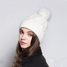 Fashion Fur Pom Pom Hat Fleece Lined Women's Winter Warm Knitted Hat Black Color