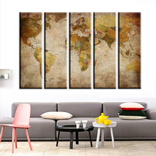 jz65 Old style  Style 5 Panel Vintage World Map Canvas Painting Oil Paintings Print On Canvas Home Decor Wall Art