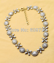 Lovely Girl Antique Gold Color Crystal Flowers PVC Necklace