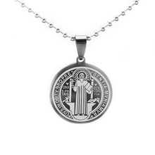 Black Stainless Steel Patron Saint St. Benedict Holy Medal Charm Pendant Necklace SS Ball Chain 60CM S(China)
