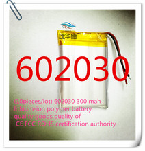 (10pieces/lot) 602030 300 mah lithium-ion polymer battery quality goods quality of CE FCC ROHS certification authority