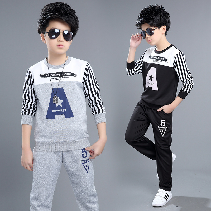 New spring teen boys clothing sets fashion suit sets for boys sports clothing kids casual clothes children clothing 4-12 years<br><br>Aliexpress