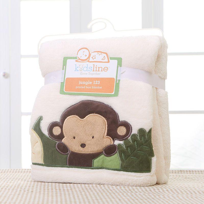 Brand Designer Super soft 100% coral fleece baby blankets newborn cartoon monkey embroidered baby swaddle blanket AB011<br><br>Aliexpress