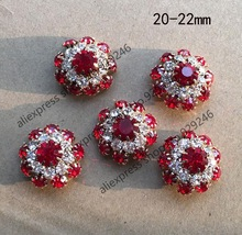 10pcs/lot 22mm red crystal rhinestone gold button small flower decorative metal button for over coat sweater clothing decoration