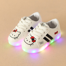 Buy 2017 LED lighted fashion cartoon children casual sneakers Lovely princess baby boys girls shoes high sports kids shoes for $9.99 in AliExpress store