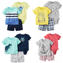 Baby Boy Summer Clothes set Bebes Newborn 3pcs of set baby boy clothing infant carter Cotton T-shirt and Shorts set set(China)