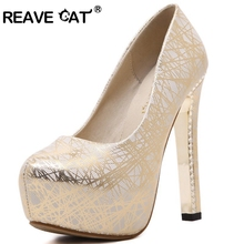 REAVE CAT Ultra high heels Shoes women Platform Fashion Casual Lines Party Night Club Woman Platform Heels Ladies Pumps A324(China)