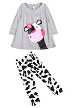 Cute  Girls Milk Cow Pajamas Kids Long Tops Pants Outfits 90CM/120CM