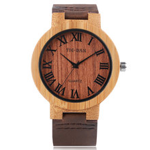 Unique Bangle Genuine Leather Band Strap Modern Men Bamboo Nature Wood Roman Numbers Fashion Wrist Watch Women Sport Creative