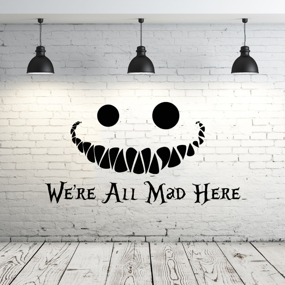 Alice In Wonderland Wall Decal Quote Cat Removable Sticky Vinyl Wall Sticker  Home Decor Living Room Part 74