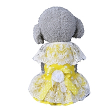 Summer Yellow Dog Dress Puppy Princess Skirt Cat Clothes for Small Dog Funny Pet Costume Bowknot Floral Lace Ropa de Perro #555