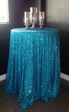 Amazing!!! 90'' Round Crystal Blue Sequin Tablecloth For Sweet Wedding Party Events Cocktail Table Decoration