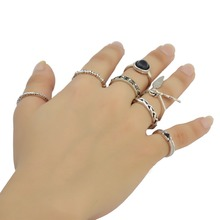 New Design Free shipping  7 Pcs/set Silver Color Alloy Inlay Black Resin Beads  Knuckle Nail Midi Ring Set For Women Jewelry