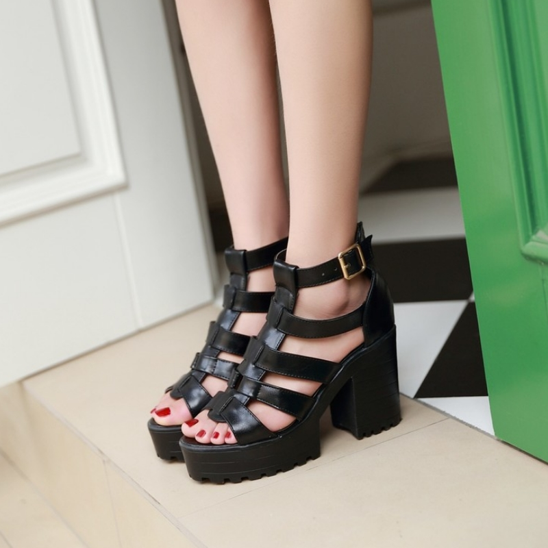 New Fashion Rome Style Shoes, Women Solid Peep Toe Gladiator Shoes, Buckle Platform Women Sandals 9