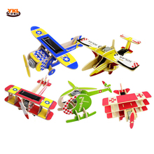 YKLWorld Wooden 3D DIY Puzzles Solar Energy Powered Aircraft Jigsaw Airplane Helicopter Building Block Educational Toys Gift -48