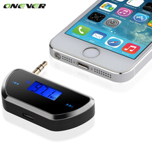 Onever  Wireless LCD 3.5mm Car FM Transmitter Audio Car Radio fm Transmitter for Smart Phone hands-free phone