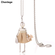 statement handmade doll necklaces long chain pendants 2017 alloy new cute choker girls women accessories silver-color necklace(China)