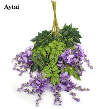 Aytai 1pc Artificial Wisteria Flowers Decorative Fake flowers for Home Garden Decoration Event Party Supplies
