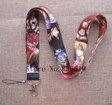 Hot Sale! 10 pcs Cartoon Japanese anime Fairy Tail Key Chains Mobile Cell Phone Lanyard Neck Straps Favors P-31(China)