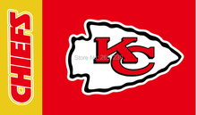Kansas City Chiefs wordmack logo red Flag 3x5FT NFL banner150X90CM 100D Polyester brass grommets custom flag, Free Shipping(China)