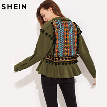 SHEIN Embroidery Jacquard Back Pom-Pom Detail Frilled Jacket Green Lapel Single Breasted Casual Long Sleeve Outerwear(China)