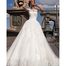 S679 Vestidos De Noiva Bridal Gown Rustic Lace Vintage Wedding Dress Turkey Sexy Ball Gown Short Sleeve Women Wedding Dress 2016