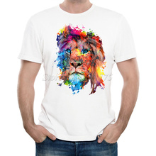 New Arrivals 2016 Men's Fashion Painted Colorful lion Design T Shirt Cool Summer Tops High Quality Casual Tee(China)