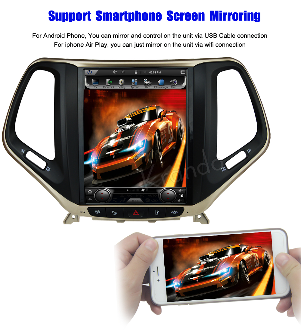 Krando Vertical screen android car radio multimedia for jeep cherokee big screen navigation with gps system (6)