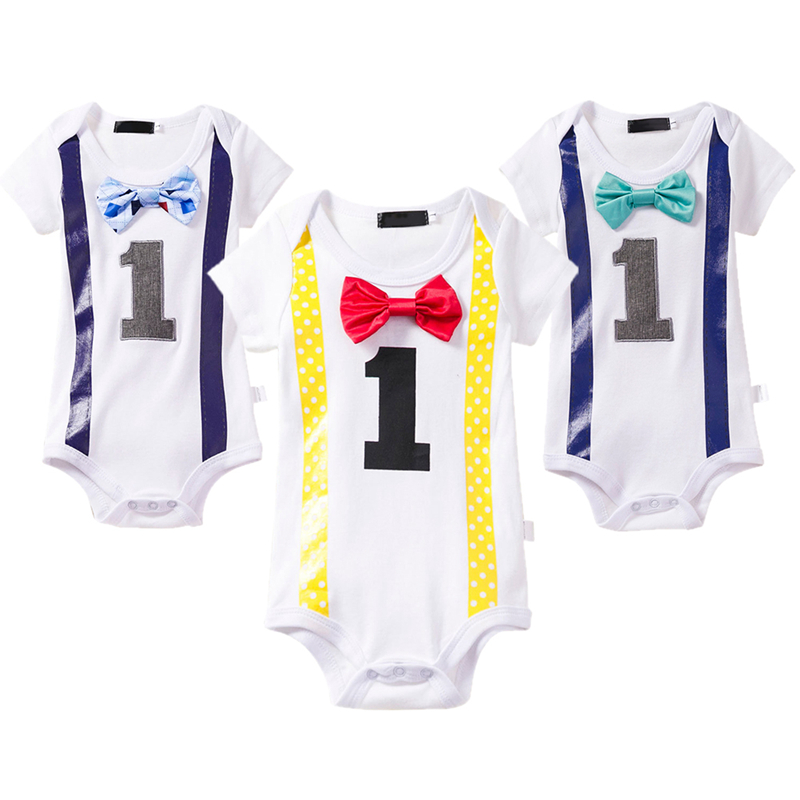 Mickey Mouse 1st Birthday Outfits Cute Baby Boys Cake Smash Short Sleeve Romper