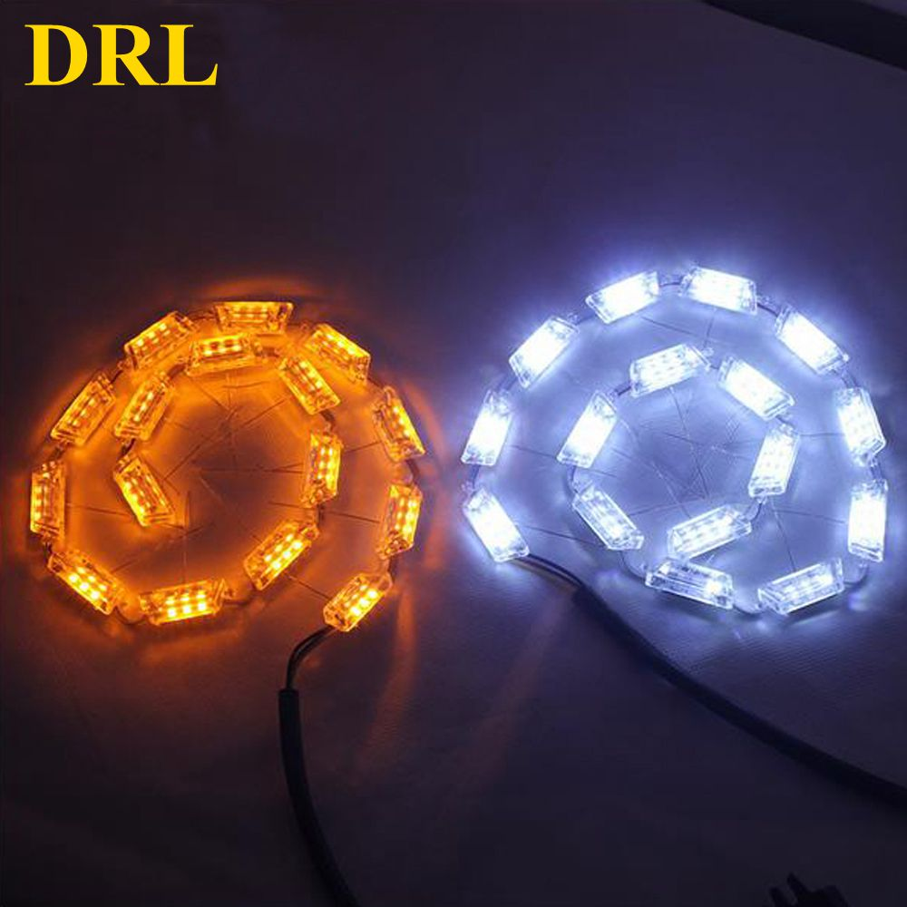 2pcs 12V 8w Colors Flexible Led Flexible DRL tear eyes white Daytime Running Light Decorative Light With yellow Turn Light<br>