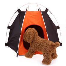 Portable Folding Camping Pet Dog Cat Tent House Shelter Rainproof Washable Indoor Outdoor Tent Orange+Black