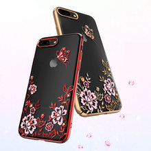 Kingxbar For iPhone 7 8/ Plus Case Luxury Electroplating Flower PC Hard 360 Full Protection Cover With Crystals from Swarovski(China)