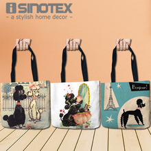 Color Dogs Poodles Storage Bags Fashion Printed Shopping Tote Linen Bag For Food Convenience Women Shoulder Handbags 1 PCS/Lot
