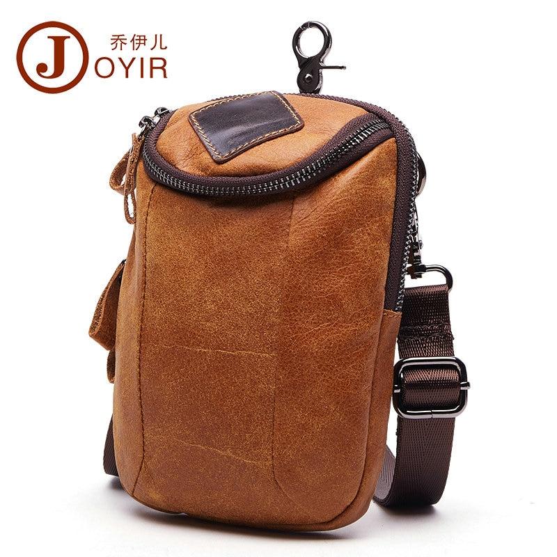 JOYIR Small Cowhide Genuine Leather Shoulder Crossbody Bags for Men 2017 Travel Documents Bag Waist Packs Male Messenger Bag New<br>