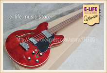 Real Pictures Semi-hollow ES 335 Guitar 4 Strings Bass Wine Red In Stock For Sale