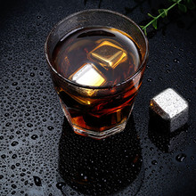 4Pcs / lot Whiskey Wine Beer Stones Stainless Steel Cooler Soapstone Whiskey Rock Ice Cube Edible Alcohol Physical Chiller Stone(China)