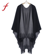 Feitong 2017 Winter Women Loose Overwear Coat Oversized Knitted Cashmere Poncho Capes Duplex Shawl Cardigans Sweater With Tassel(China)