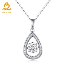 Heart By Heart Womens Necklace Dancing Topaz Gemstone 925 Sterling Silver Long Necklace Jewelry Crystal Water Drop Pendant(China)