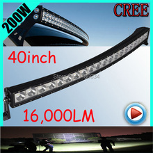 Free UPS ship!1pcs/set,40inch 200W 16000LM Curved,10~30V,6500K,LED working bar,Boat,Bridge,Truck,SUV Offroad car,black,140W