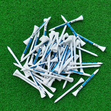 50pcs 83MM White Wooden golf Ball Tees Blue Printing Golf Tee New(China)