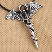 Fashion Men's Pendant Necklace  Stainless Steel Gold Dragon Wing Cross Sword Punk Rock Gothic