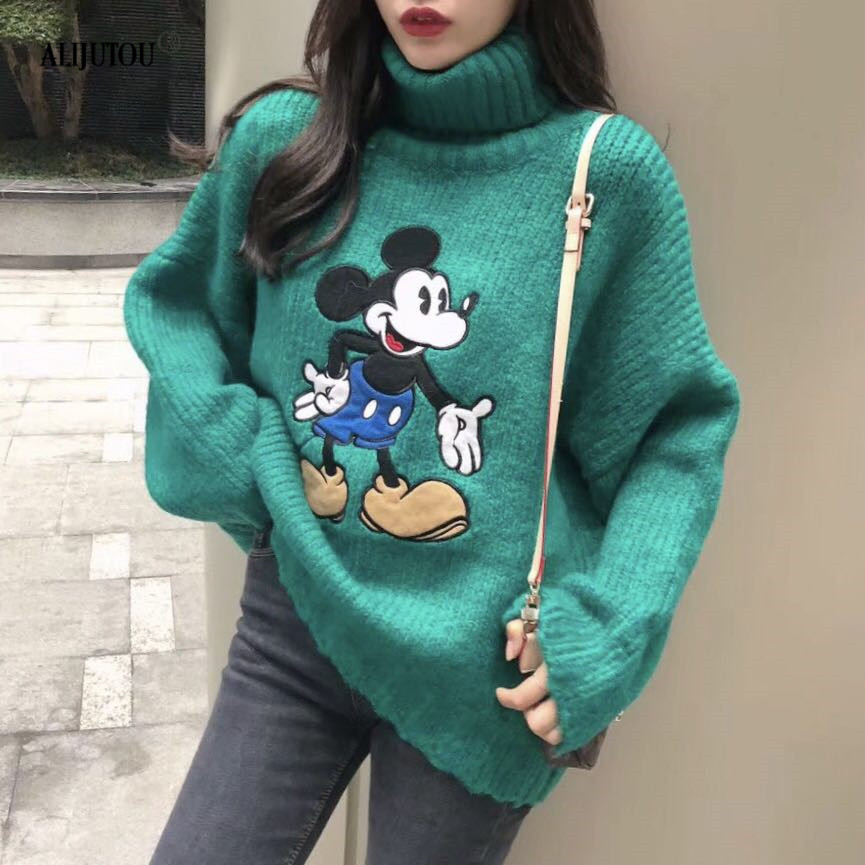 Mickey Mouse Thick Turtleneck Warm Women Sweater Fashion Loose Jumpers Knitting Pullovers  high quantity Cartoon New female