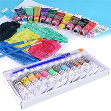 6 ML 12 Colors Professional Acrylic Paints Set Hand Wall Textile Painting Brush
